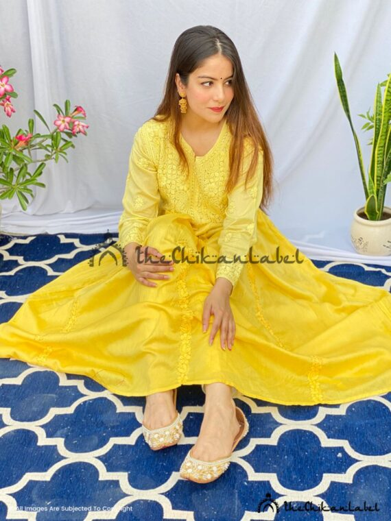 Gold Yellow Chanderi Anarkali Gown Kurti 04