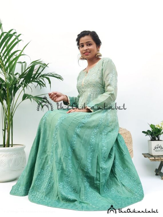 Green Chanderi Anarkali Gown 03