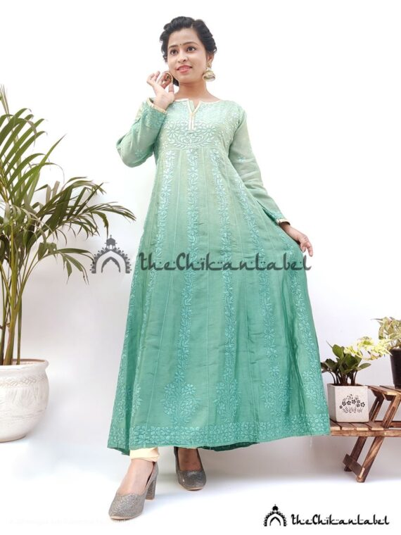 Green Anarkali Chanderi Cotton Gown Lucknawi Chikankari