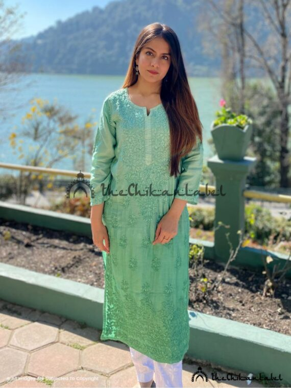 Green Chanderi Cotton Kurti Lucknawi Chikankari