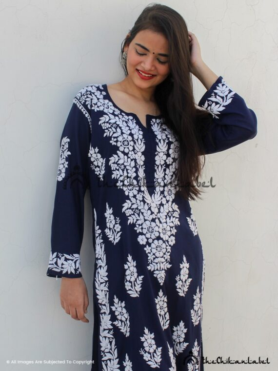 Ink Blue Georgette Straight Kurti Lucknow Chikankari 02