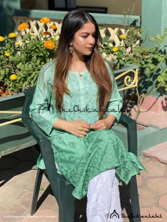 Green Chanderi Straight Kurti 02