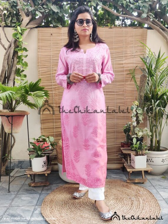 Blush Pink Chanderi Cotton Kurti Lucknawi Chikankari