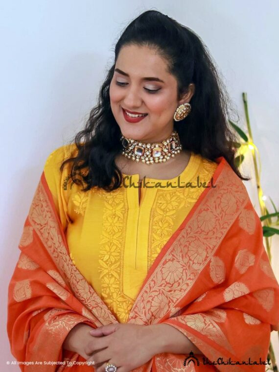 Perky Megs Yellow Chanderi Cotton Salwaar Suit Lucknawi Chikankari
