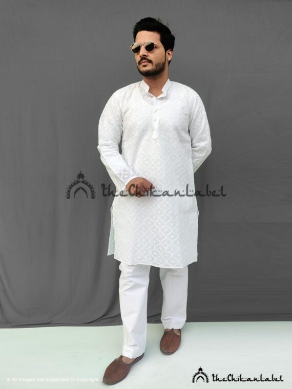 White Mens Cotton Anda Jaal Kurta Pajama 01