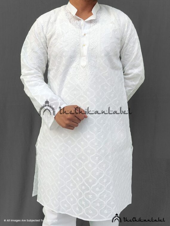 White Mens Cotton Anda Jaal Kurta Pajama 02