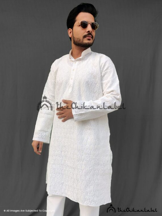White Cotton Mens Kurta Pajama
