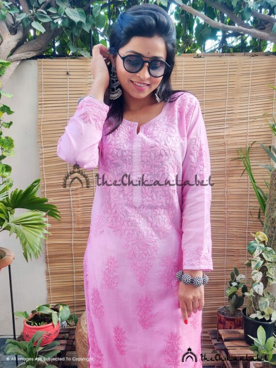 Blush Pink Chanderi Cotton Kurti 02