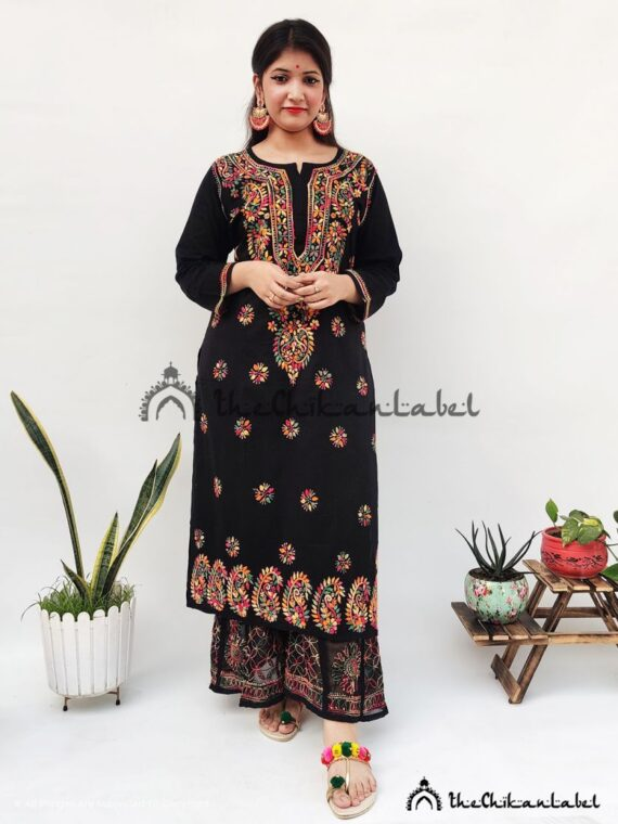 Black Multi Cotton Kurti Palazzo Set Lucknawi Chikankari Handmade