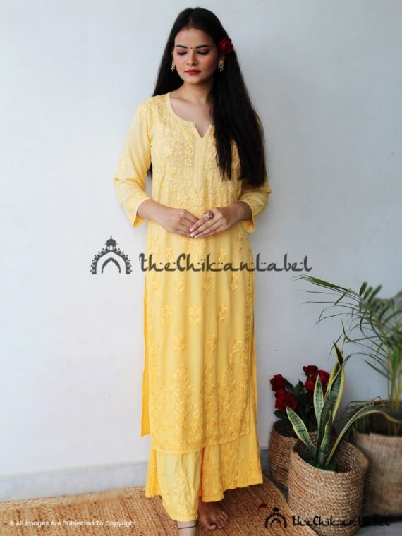 Yellow Modal Cotton Kurti Palazzo Set Lucknawi Chikankari