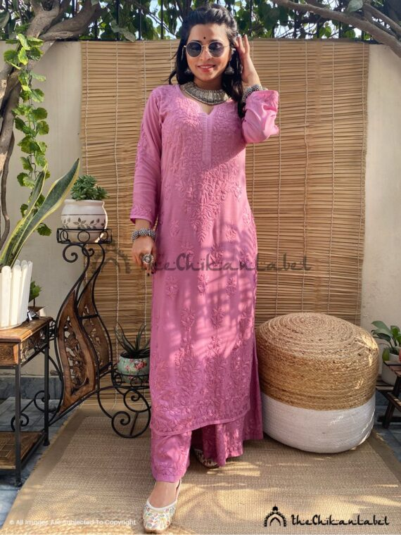 Co Ord Muave Modal Cotton Kurti Palazzo Set Lucknawi Chikankari