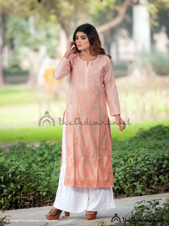 Peach Chanderi Cotton Kurti Lucknawi Chikankari Straight Kurta
