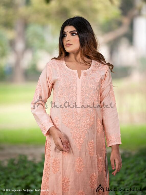 Peach Chanderi Cotton Chikankari Straight Kurti 01