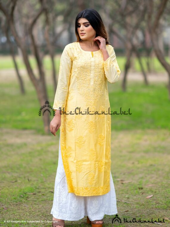 Yellow Chanderi Cotton Kurti Lucknawi Chikankari Straight Kurta
