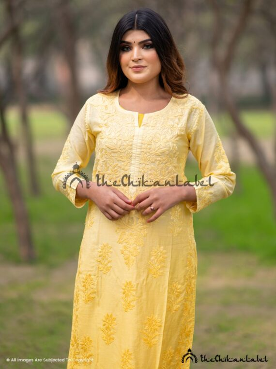 Yellow Chanderi Cotton Chikankari Straight Kurti 03
