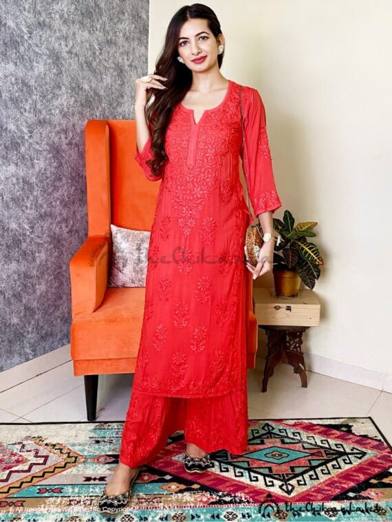 Red Modal Cotton Kurti Palazzo Set Lucknawi Chikankari