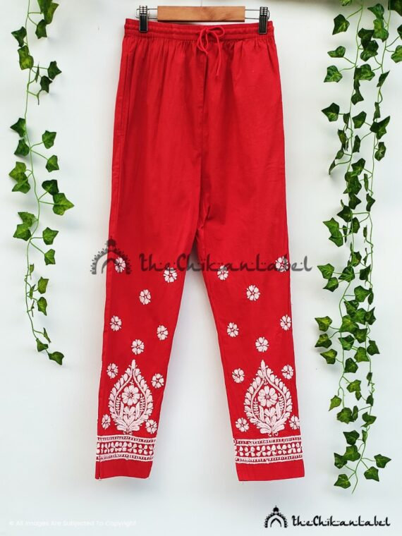 Red Cotton Straight Pants 02