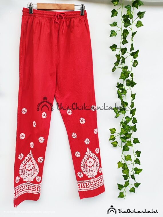 Red Cotton Straight Pants 01