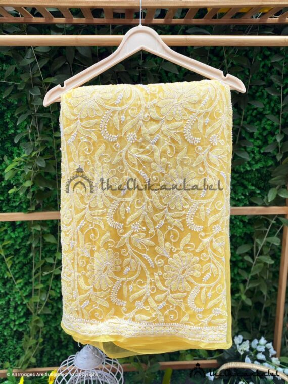 Yellow Georgette Full Jaal Saree 03