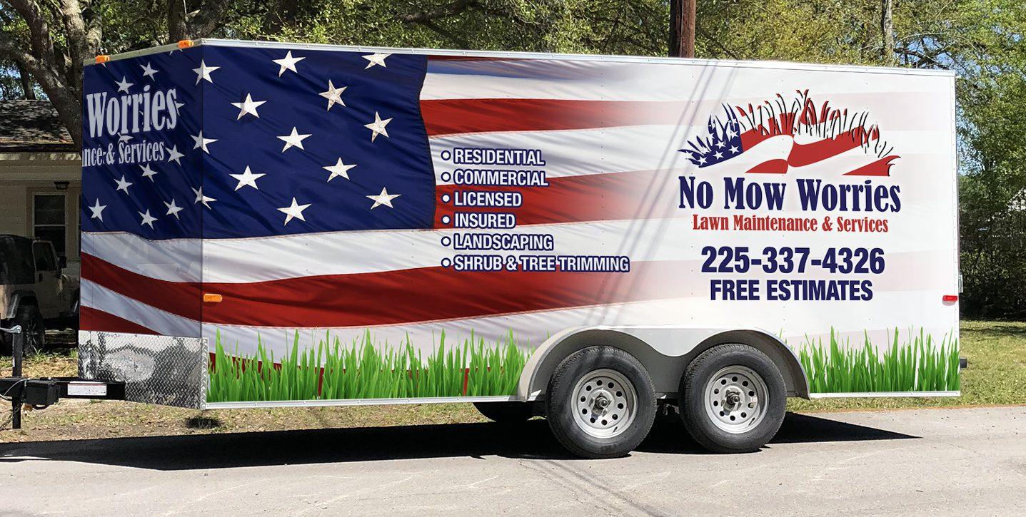 Vehicle and Fleet Graphics Trailer Wrap No Mow Worries Trailer