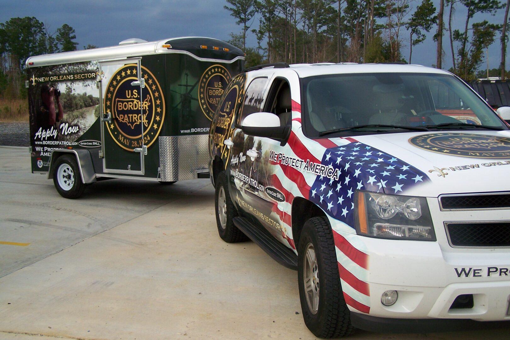 Vehicle Graphics in Slidell, LA US. Border Patrol Vehicle Wrap SEI HQ