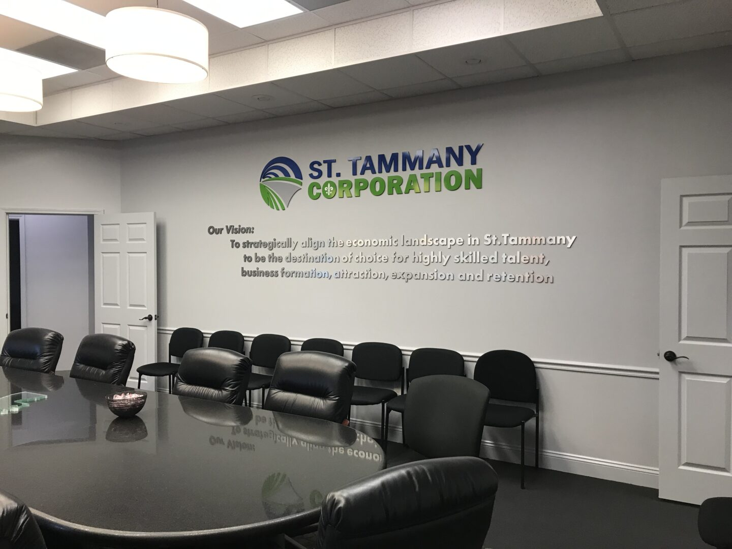 Interior Wall Signage with Vision Statement St. Tammany Corporation Architectural Sign SEI HQ
