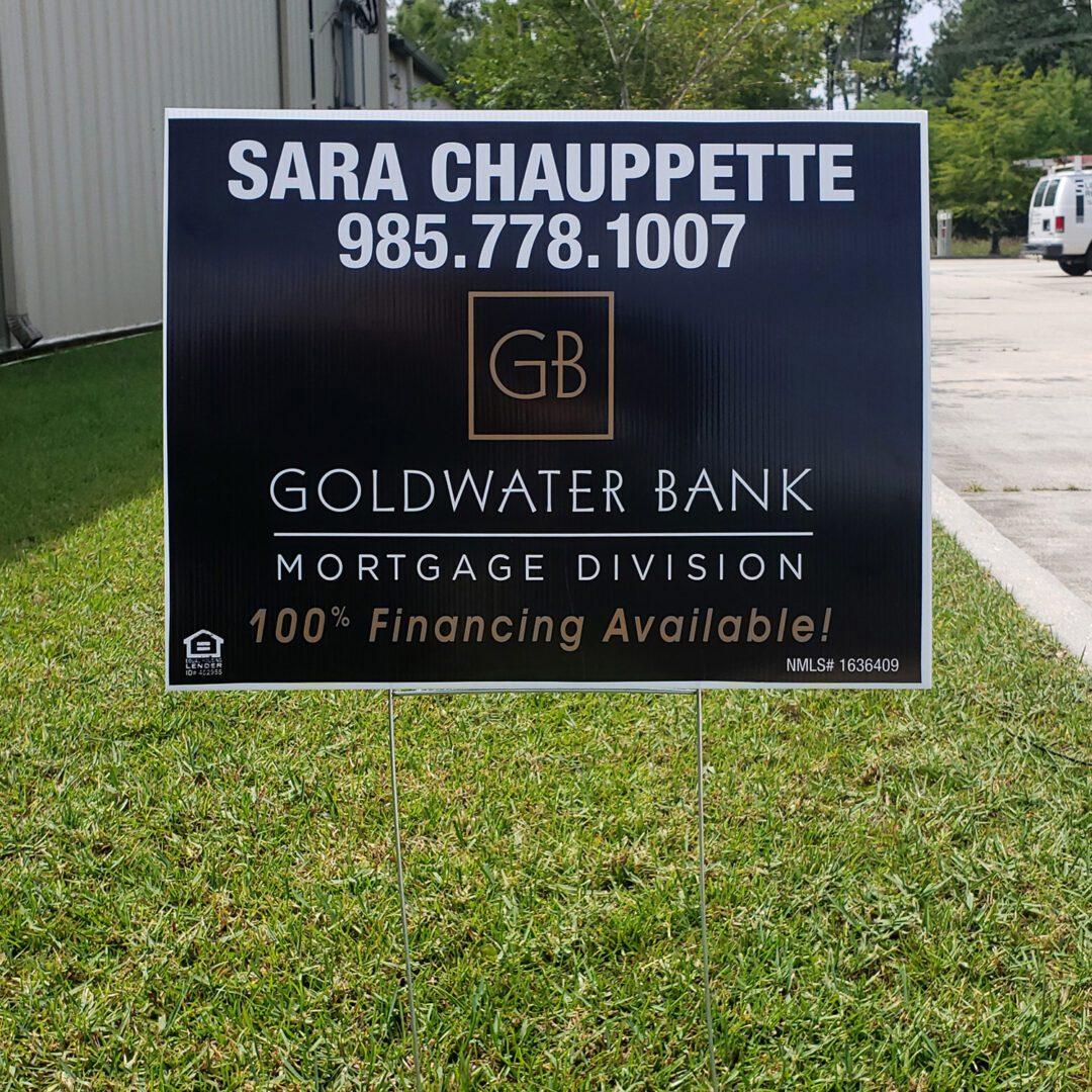 Goldwater Bank Yard Sign