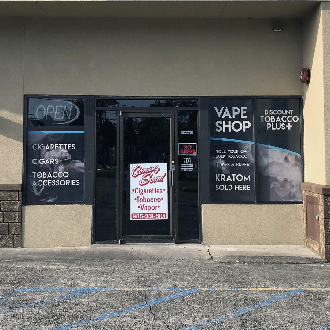 Window Signage Vinyl SEI HQ Vape Shop Window Signs