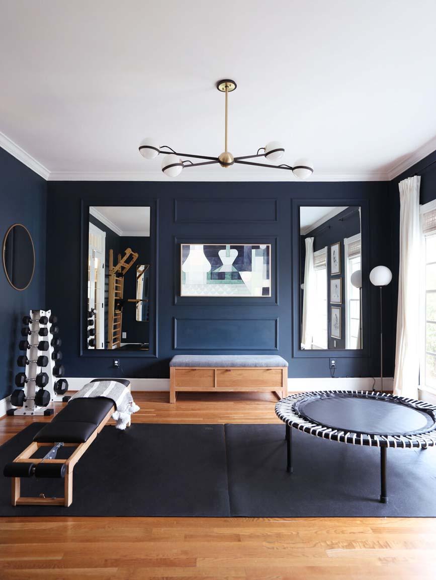 glamorous home gym orange moon interiors