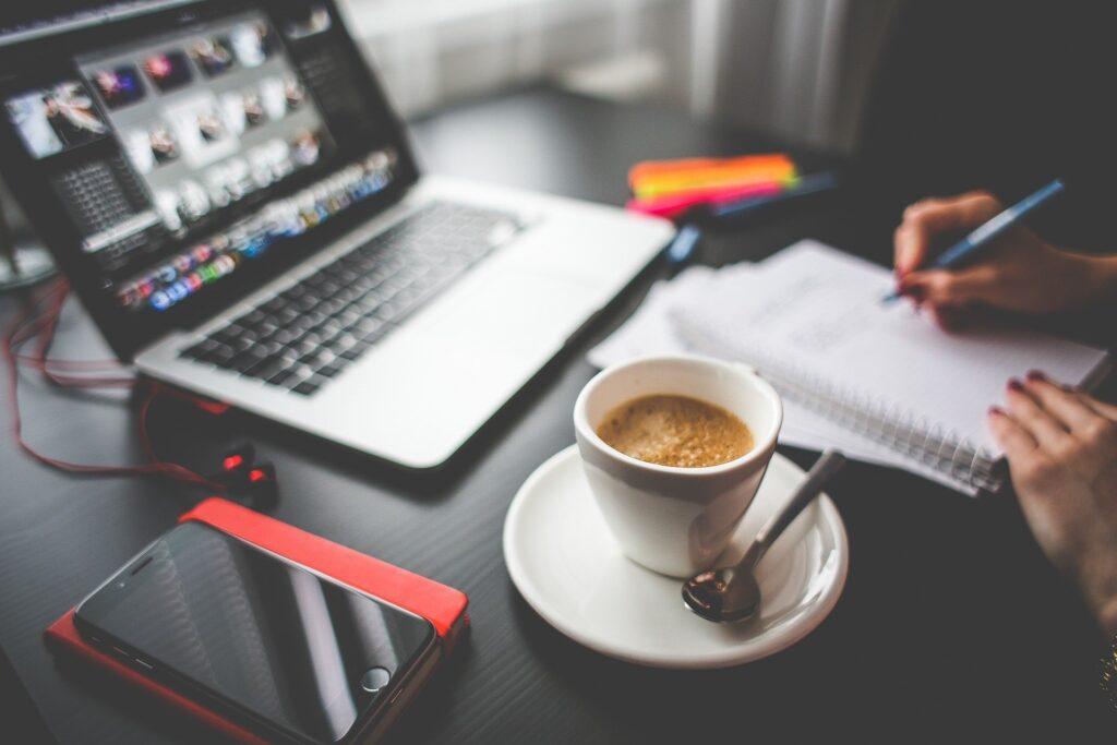 work space, coffee