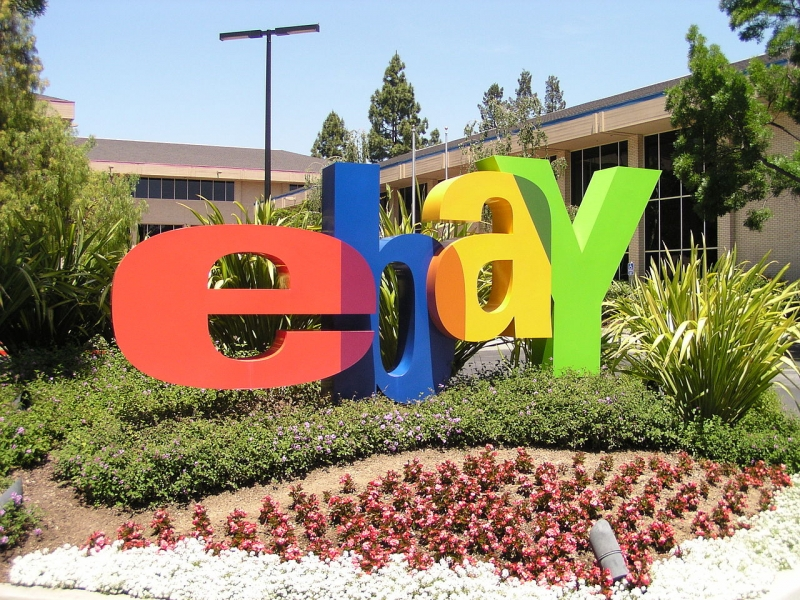 Image of the Ebay logo art installation at Ebay headquarters.
