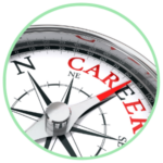 Icon for the BOOST Program - an orienteering compass with the word career in red