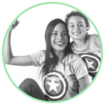 Icon for the Empowering Single Mothers Program - an image of a mother and child with their arms raised in a hurrah pose