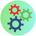 Icon for the Ready to Work Program - a graphic of 3 different colored gears
