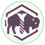 Icon for Evanston's Maker Space Wyrkshop - Graphic buffalo with a stylized screw