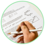 Icon for College & University proctoring - a hand with a pencil hovering over a typed exam