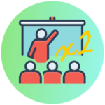 Icon for Dual & Concurrent classes - a stylized graphic of a teacher pointing to a white board in front of 3 students - basic line drawings