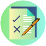 Icon for High School Equivalency Testing - stylized graphic of a test with an orange pen