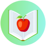 Icon for College & Career Readiness - a graphic depiction of an apple on top of an open book