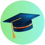 Icon for Higher Education - a graphic of a graduation cap with tassel