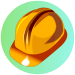 Icon for Safety Training - a graphic of a orange safety helmet