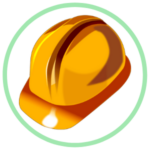 Icon for Safety Training - a graphic of a orange safety helmet within a green circle border