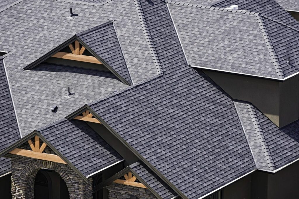 Aerial view of roofing installation and replacement
