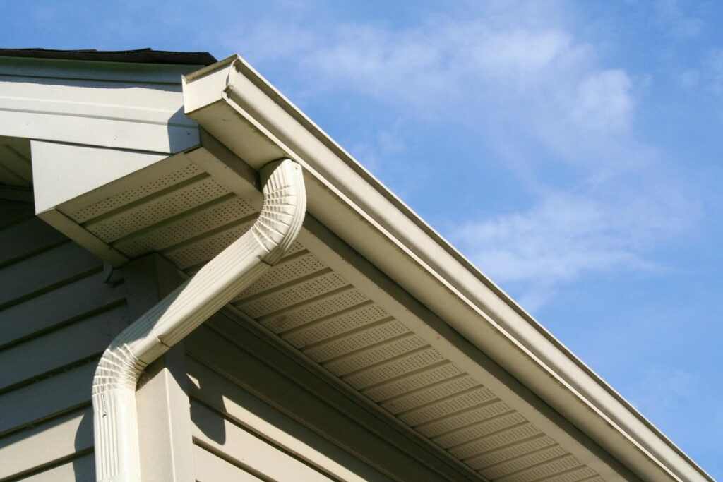 Looking up at gutters and siding