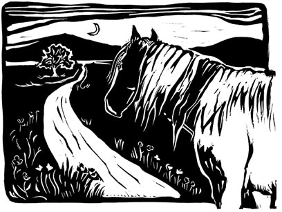 Black and white horse wood carving