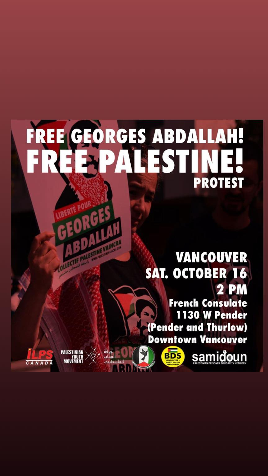 Free Georges Abdallah! Free Palestine Protest in Vancouver!