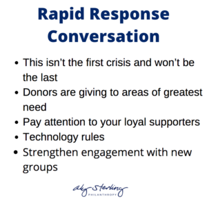 graphic that says Rapid response conversation - This isn't the first crisis and won't be the last - Donors are giving to areas of greatest need - Pay attention to your loyal supporters - Technology rules - Strengthen engagement with new groups