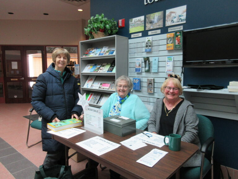 Carol, Marolyn & Elaine helping at the Used Booksale