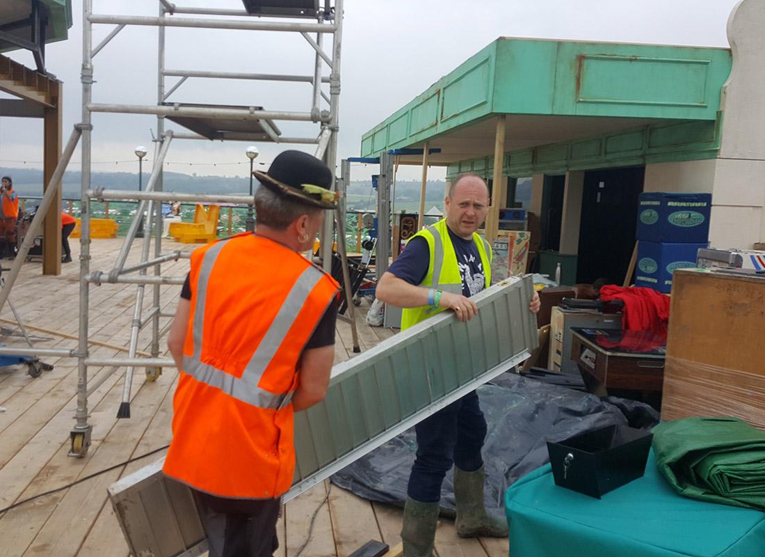 Pinball Alley Build Crew Glastonbury
