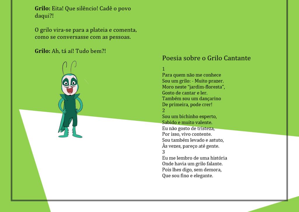 A imagem mostra o personagem Grilo Cantante e uma poesia sobre ele.